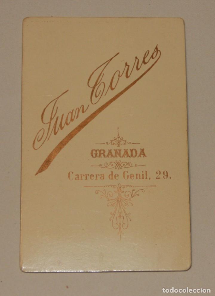 Fotografía antigua: CARTA DE VISITA. FOTOGRAFIA JUAN TORRES. GRANADA EN BUEN ESTADO - Foto 2 - 75141043