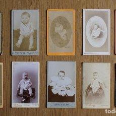 Fotografía antigua - LOTE 10 CDV / CARTES DE VISITE, BEBES, NIÑOS, NIÑAS, PUBLICIDAD FOTÓGRAFOS - 79982165