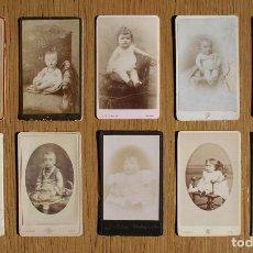 Fotografía antigua: LOTE 10 CDV / CARTES DE VISITE, BEBES, NIÑOS, NIÑAS, PUBLICIDAD FOTÓGRAFOS. Lote 80348233
