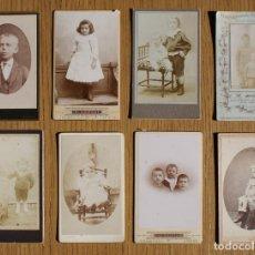 Fotografía antigua: LOTE 8 CDV / CARTES DE VISITE, NIÑOS, NIÑAS PUBLICIDAD FOTÓGRAFOS. Lote 80348381