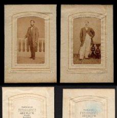 Fotografía antigua: DOS FOTOS CDV DEL ESTABLECIMIENTO FOTOGRÁFICO, BINONDO, MANILA. CIRCA 1880. INCLUYEN PASPARTÚ.. Lote 80551162