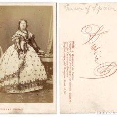 Fotografía antigua: ISABEL II REINA DE ESPAÑA POR DISDERI - CDV - CARTA DE VISITA - ALBUMINA. Lote 81257384