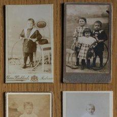 Fotografía antigua - LOTE 4 CDV / Cartes de visite. Niños con aro. Publicidad fotógrafos - 81680520