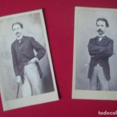 Fotografía antigua: 2 CDV CABALLEROS FUSTA BASTON CARTE DE VISITE FOTO J. YBAÑEZ MARTINEZ HELLIN ALBACETE C.1865 XIX. Lote 82282528