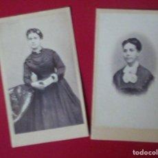 Fotografía antigua: 2 CDV DAMAS SEÑORAS , UNA MUESTRA CARTE DE VISITE FOTO J. YBAÑEZ MARTINEZ HELLIN ALBACETE C.1865 XIX. Lote 82282892
