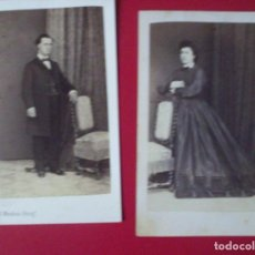 Fotografía antigua: 4 CDV SEÑORA SEÑOR NIÑOS VESTIDO CARTE DE VISITE FOTO E. MENDOZA CARTAGENA MURCIA C.1865 XIX. Lote 82284664