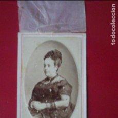 Fotografía antigua: CDV SEÑORA ANA Mª AULLO LOZANO VESTIDO CARTE DE VISITE SEDA FOTO ALMAGRO Y TORRES MURCIA C.1865 XIX. Lote 82286044
