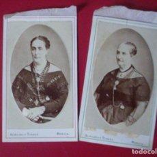 Fotografía antigua: 2 CDV SEÑORAS FAMILIA AULLO LOZANO VESTIDO CARTE DE VISITE FOTO ALMAGRO Y TORRES MURCIA C.1865 XIX. Lote 82286644