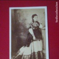 Fotografía antigua: CDV SEÑORA ENCARNACION DE CAÑADA DE AULLO VESTIDO CARTE DE VISITE FOTO BOCCONI MURCIA C.1865 XIX. Lote 82287100