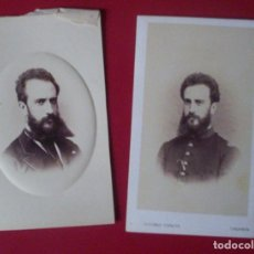 Fotografía antigua: 2 CDV SEÑOR BARBA MILITAR CARTE DE VISITE FOTO ANTONIO GARCIA VALENCIA C.1865 XIX. Lote 82289508