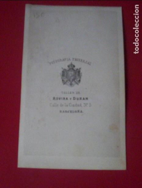Fotografía antigua: cdv señor traje carte de visite foto rovira y duran barcelona c.1865 xix - Foto 2 - 82290168