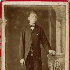 Fotografía antigua: FOTO C.V. RETRATO DE JOVEN ADOLESCENTE. CA.1885-1890. FOT.: JUAN ORTIZ GENDRE. TORTOSA.. Lote 83019120