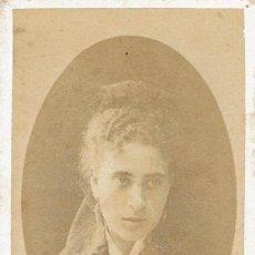 Fotografía antigua: FTO.C.V. RETRATO DE DAMA DE CABELLO ONDULADO CON LIGERO VELO. CA.1880. FOT. L.SUBERCAZE.PAU. Lote 86263424