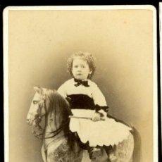 Fotografía antigua: RETRATO NIÑA Y JUGUETE - 1870'S - FOTOGRAFIA JUAN MARTI. Lote 86718432