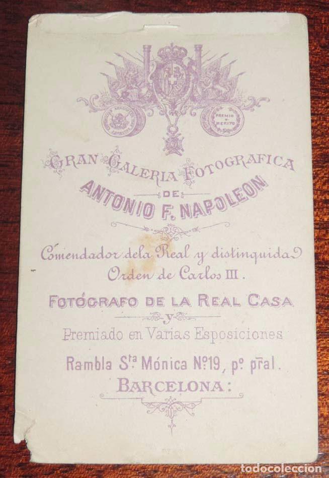 Fotografía antigua: FOTOGRAFIA CDV ALBUMINA DE CABALLERO, CARTE DE VISITE, FOTOGRAFO ANTONIO F. NAPOLEON DE BARCELONA, M - Foto 2 - 86870332