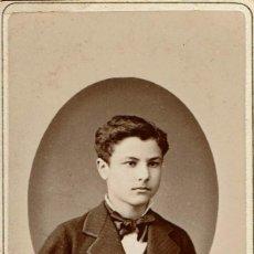 Fotografía antigua: FTO. C.V. RETRATO DE JOVEN ADOLESCENTE. CA. 1880-1885. FOT: A.F. DIT NAPOLEON E HIJO. BARCELONA.. Lote 87208520