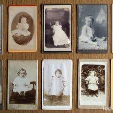 Fotografía antigua - LOTE 10 CDV / CARTES DE VISITE, NIÑOS, NIÑAS, BEBÉS, CON PUBLICIDAD DEL FOTÓGRAFO - 87257660