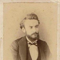 Fotografía antigua: FTO. C.V. RETRATO DE JOVEN CON CINTA DE CORBATA. CA.1870. FOT. GONZALO CASAS. BARCELONA.. Lote 87611676