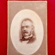 Fotografía antigua: CARTE DE VISITE CDV FOTO MEDALLON CABALLERO LENTES PAJARITA PATILLAS 1900. Lote 88312460
