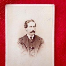Fotografía antigua: FOTO ALBUMINA CARTE DE VISITE CDV BIGOTE XIX FOT FILLON LISBOA 10,3X6CMS. Lote 88502592