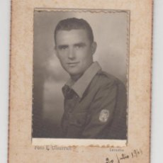 Fotografía antigua: ANTIGUA FOTOGRAFÍA,CDV,CARTA DE VISITA, E. ULZURRUN, LARACHE, 20 JULIO 1944, SOLDADO, MILITAR. Lote 89479460