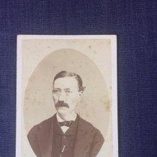 Fotografía antigua: CARTE DE VISITE CDV CABALLERO OVAL BIGOTE ALFILER LEONTINA JOAQUÍN MASAGUER GERONA FINAL XIX. Lote 90712195