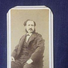 Fotografía antigua: CARTE DE VISITE CDV CABALLERO BIGOTE PATILLAS LAZO LEONTINA FRANCO HISPANOAMERICANO BARCELONA F XIX. Lote 90719555