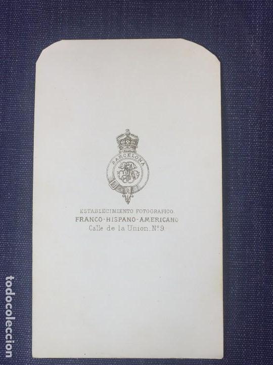 Fotografía antigua: Carte de visite CDV Señora Recogido Lunar Colgante Franco Hispano Americano Barcelona final XIX - Foto 4 - 90716710