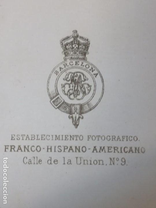 Fotografía antigua: Carte de visite CDV Señora Recogido Lunar Colgante Franco Hispano Americano Barcelona final XIX - Foto 5 - 90716710