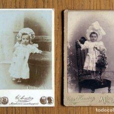 Fotografía antigua: LOTE 2 CDV / CARTES DE VISITE, NIÑAS, PUBLICIDAD FOTÓGRAFOS. Lote 90899060