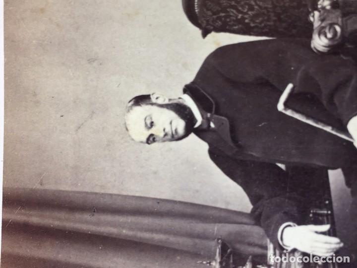 Fotografía antigua: Carte de visite CDV Caballero Barba Bastón Sillón Escritorio J Laurent Madrid finales XIX - Foto 2 - 90948865