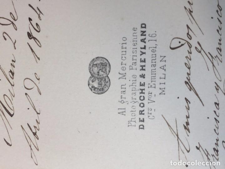 Fotografía antigua: CARTE DE VISITE CDV Caballero bigote butaca dedicada 1864 Milán Antonio Negre mediados XIX Italia - Foto 2 - 91034700