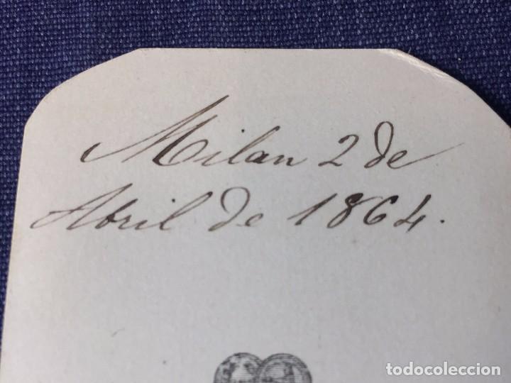 Fotografía antigua: CARTE DE VISITE CDV Caballero bigote butaca dedicada 1864 Milán Antonio Negre mediados XIX Italia - Foto 7 - 91034700