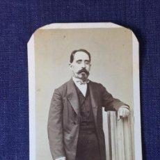 Fotografía antigua: CARTE DE VISITE CDV CABALLERO BIGOTE BARBA LAZO COLUMNA FINAL XIX ROVIRA BARCELONA. Lote 91039230