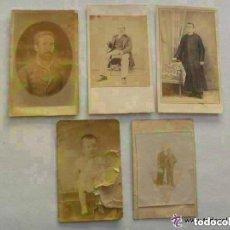 Fotografía antigua - LOTE DE 5 CDV ESPAÑOLEs . SIGLO XIX. SIN MARCAS: BEBÉ , MILITAR , SACERDOTE , ETC - 91677335