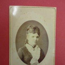 Fotografía antigua: CARTA DE VISITA. DAMA DE ÉPOCA. NAPOLEON FOTÓGRAFO. BARCELONA. CIRCA 1880. Lote 92789345