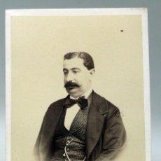Fotografía antigua: CARTE VISITE FOTOGRAFÍA BUSTO CABALLERO BIGOTE CONDE DE VERNAY PRECIADOS MADRID HACIA 1865 S XIX. Lote 93360035
