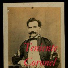 Fotografía antigua: MILITAR - 1870'S - TENIENTE CORONEL . Lote 94479526