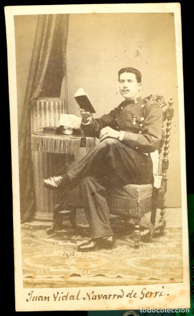 MILITAR - 1870'S - JUAN VIDAL NAVARRA DE GERRI - FOTOGRAFÍA ARTÍSTICA - MADRID (Fotografía Antigua - Cartes de Visite)