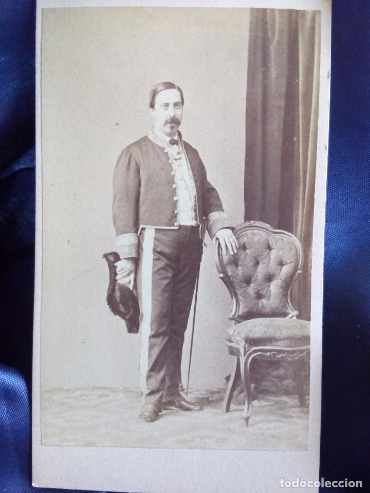 TIBURCIO RODRÍGUEZ Y MUÑOZ, CÓNSUL GENERAL EN JAPÓN- DEDICADA DESDE LA FRAGATA BERENGUELA (Fotografía Antigua - Cartes de Visite)