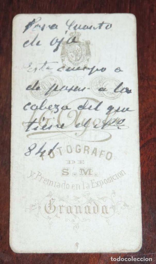 MIDE 8 X 4 CMS SIGLO XIX Fotografia Antigua CARTE DE VISITE FOTOGRAFIA ALBUMINA CABALLERO J G AYOLA GRANADA