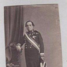 Fotografía antigua: ALBÚMINA TARJETA DE VISITA. MILITAR GENERAL MINISTRO DE FOMENTO LUJAN ??. SIN MONTAR EN CARTON.. Lote 97475547