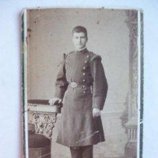 Fotografía antigua: CDV MILITAR MG , RGTO. Nº160 (?) CON BAYONETA DE TUBO , SIGLO XIX. DE JUAN MON, MADRID.. Lote 98672427