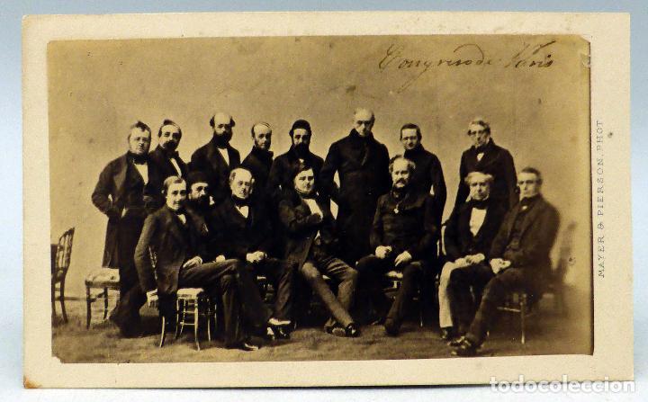 CARTE VISITE FOTOGRAFÍA CONGRESO PARÍS 1856 FIRMA FIN GUERRA CRIMEA MAISON MAYER & PIERSON PARÍS XIX (Fotografía Antigua - Cartes de Visite)