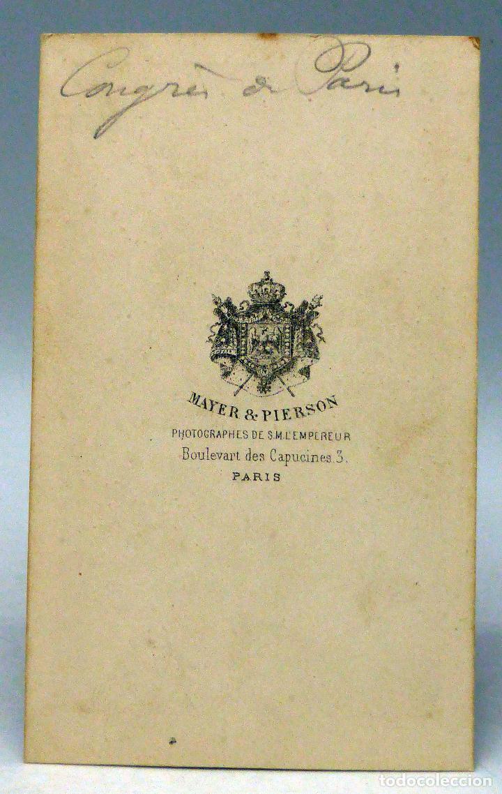 Fotografía antigua: Carte Visite fotografía Congreso París 1856 firma fin guerra Crimea Maison Mayer & Pierson París XIX - Foto 2 - 101083963