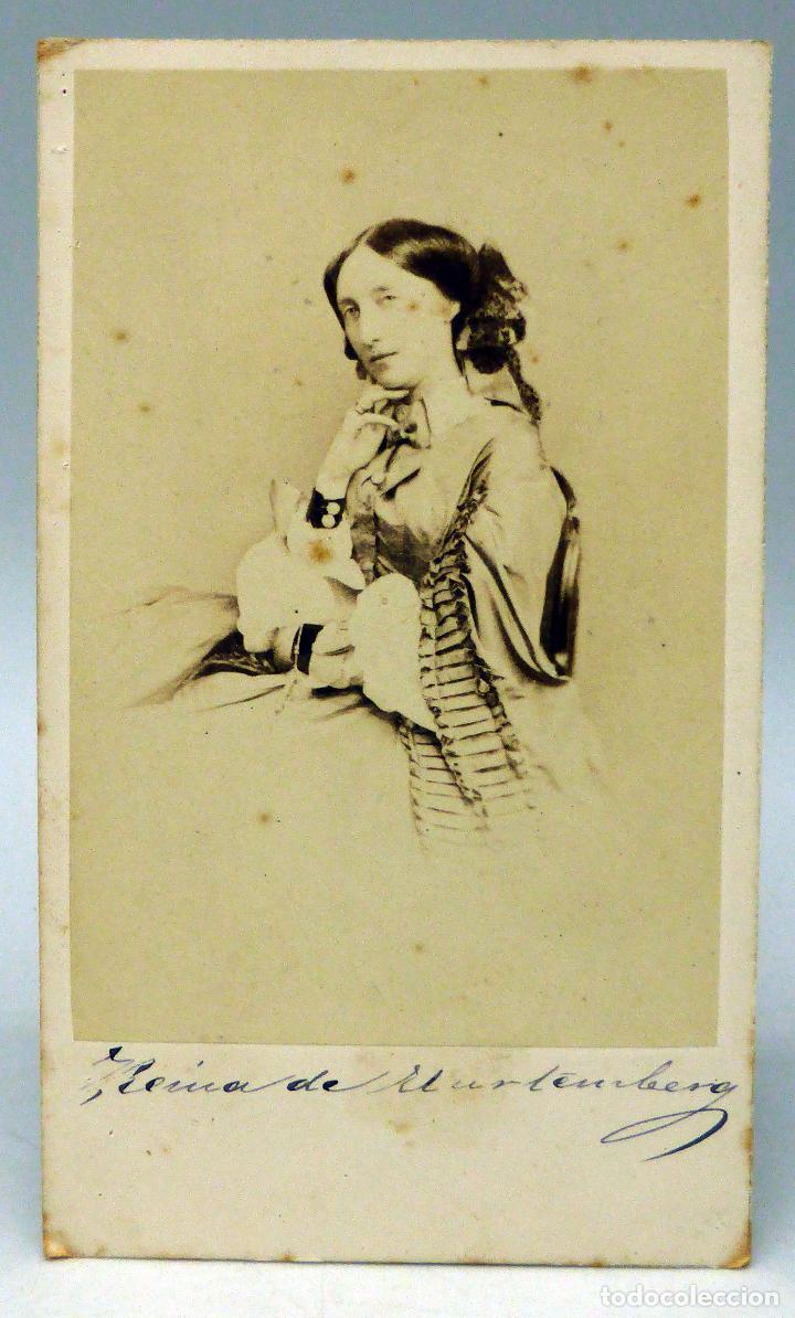 CARTE VISITE FOTOGRAFÍA REINA DE WURTEMBERG ADELAIDA MARÍA DE ANHALT DESSAU SIN NOMBRE ESTUDIO 1870 (Fotografía Antigua - Cartes de Visite)