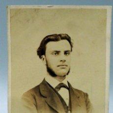 Fotografía antigua: CARTE VISITE FOTOGRAFÍA CABALLERO BUSTO SIN NOMBRE ESTUDIO HACIA 1870 S XIX. Lote 101467551