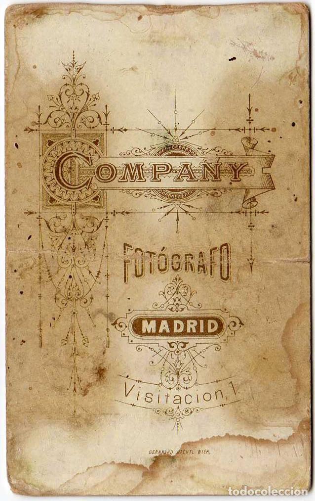 Fotografía antigua: FOTO CDV /CARTE DE VISITE. COMPANY. MADRID - Foto 2 - 101725923