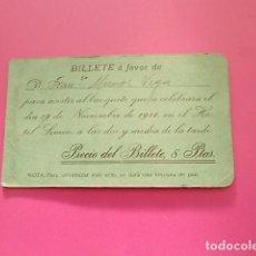 Fotografía antigua: BILLETE A FAVOR /DE FRANCISCO MUÑOZ VEGA / PARA ASISTIR A LA BODA DEL TORERO BOMBITA. Lote 103827683