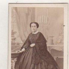 Fotografía antigua: ALBÚMINA TARJETA DE VISITA, RETRATO DAMA ALTA SOCIEDAD. FOTÓGRAFO ALONSO MARTINEZ HERMANO MADRID . Lote 104891191